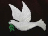 Glittery Dove of Peace Iron On Embroidered Applique Patch L