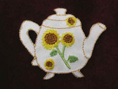 Sunflower Tea Pot Embroidered Applique Patch