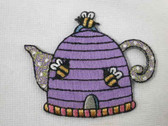 Lilac Bee Hive Tea Pot Embroidered Applique Patch