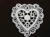 White Heart Venise Lace Sew On Applique Patch Delicate