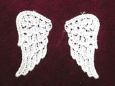 Pr Ivory Venise Lace Angel Wings Sew On Applique Patch