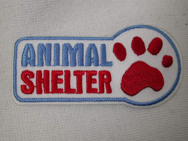 Animal Shelter Paw Red Blue Embroidered Iron On Patch 2.75 Inches