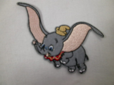 Flying Felted Elephant Embroidered Iron On Applique Patch