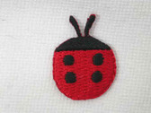 Two Red Black Lady Bug Ladybug Embroidered Iron On Patch .75 In