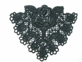 Black Triangle w Rose Sew On Venise Lace Applique Patch