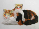 Calico Mother Cat Kitten Embroidered Iron On Patch 7.5