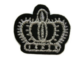Black and Silver Royal King Queen Crown Embroidered Iron On Patch 1.25 Inch