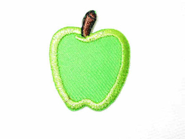 Little Green Apple Embroidered Iron On Patch 1 In