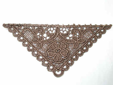 Coffee Venise Venice Lace Triangle Sew On Patch