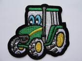 Green Cartoon Childs Tractor Embroidered Iron On Patch
