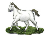 White Running Horse on Grass Embroidered Iron On Patch Applique 3.68 Inch