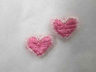 2 Pink Heart Iron On Applique Patch .38 In
