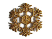 Gold Metallic Snowflake Embroidered Iron On Patch Applique Style A 2.38 In