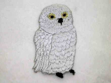 Silver Grey Owl Iron On Applique Patch 1.75 Inch