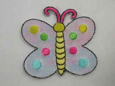 White Butterfly Shimmer Embroidered Iron On Patch 2 In