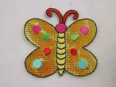 Yellow Butterfly Shimmer Embroidered Iron On Patch 2 In