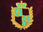 Green Gold Fleur De Lis Embroidered Heraldic Iron On Patch