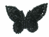 Black Butterfly Beaded Sequin Sew On Patch