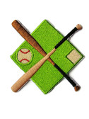 Baseball Bats Ball Diamond Emblem Embroidered Iron On Patch 3 Inch