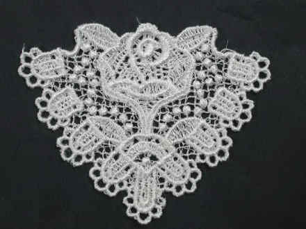 White triangle w rose sew on venise lace appliques patches