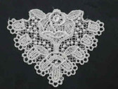 White Triangle w Rose Sew On Venise Lace Applique Patch