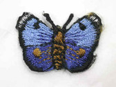 2-Tone Blue Butterfly Embroidered Iron On Patch 1.13 In
