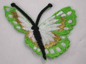 Green Gold Sideview Butterfly Iron On Patch 2.75 In