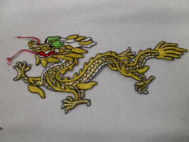 Oriental Dragon Yellow Gold Iron On Patch Faces Left Minor Flaws 6.75 Inch