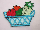 Fruit Basket Embroidered Iron On Patch 2.75 In
