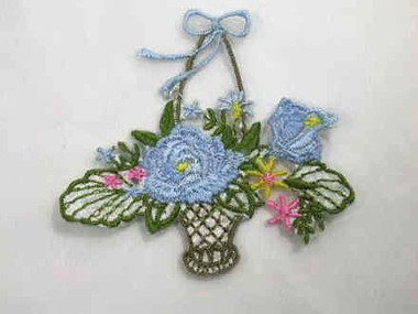 Basket Blue Pink Flowers Iron On Patch 2.75 In