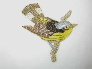 Finch Yellow Brown Gold Bird Iron On Patch 2.5 Inch