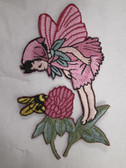 Deep Rose Fairy Pixie w Clover and Bee Iron On Patch 3.5