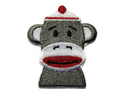 Classic Sock Monkey Head Embroidered Iron On Patch Applique 1.75 Inch