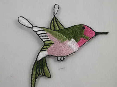 Pink Hummingbird Embroidered Iron On Patch Right 2.5 In