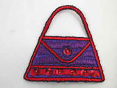 Red Purple Sequin Purse Embroidered Iron On Patch