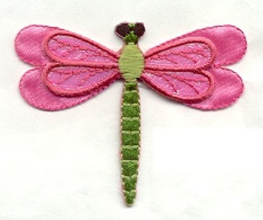 Luster Pink Dragonfly Embroidered Iron on Patch 2.25 In