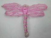 Pink Organza Dragonfly Embroidered Iron On Patch 2 In