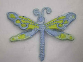 Lt Blue Green Dragonfly Embroidered Iron On Patch 2 In