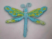 Aqua Blue Yellow Dragonfly Embroidered Iron On Patch