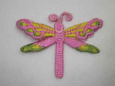 Pink Green Yellow Dragonfly Embroidered Iron On Patch 2 In