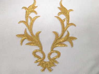 Gold Metallic V Shaped Leafy Heraldic Costume Scroll Iron On Patch