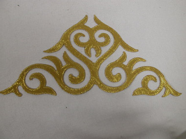 Triangular Gold Metallic and Satin Crest Costume Iron On Patch 9.5 Inches