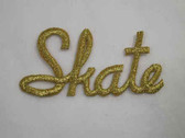 SKATE Legend Word Gold Metallic Iron On Patch