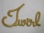 TWIRL Legend Word Gold Metallic Iron On Patch