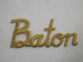 BATON Legend Word Gold Metallic Iron On Patch