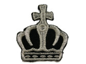 Silver Metallic on Black Crown with Cross Iron On Patch 2 Inches