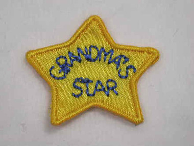 2 Grandmas Star Iron On Embroidered Patch 1.25 In