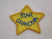 2 Star Grandma Iron On Embroidered Patch 1.25 In