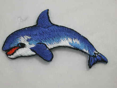 Blue Killer Whale Embroidered Iron On Patch