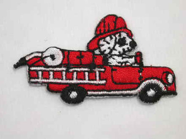 Fire Engine w Dalmatian Pup Embroidered Iron On Patch